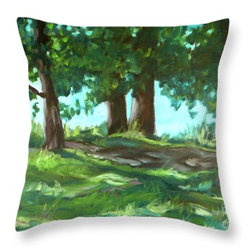 Dreaming On Fellows Lake Throw Pillow by Jan Bennicoff