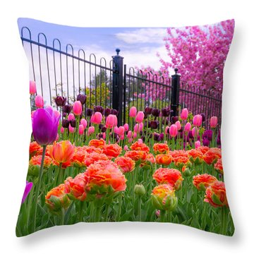 Dreamy Tulip Garden Throw Pillow