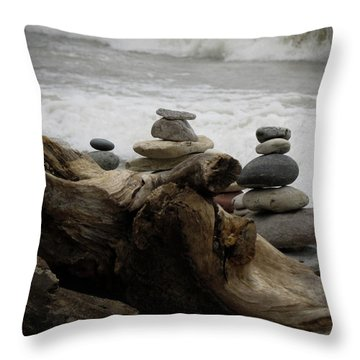 Throw Pillow featuring the photograph Driftwood Cairns by Kimberly Mackowski