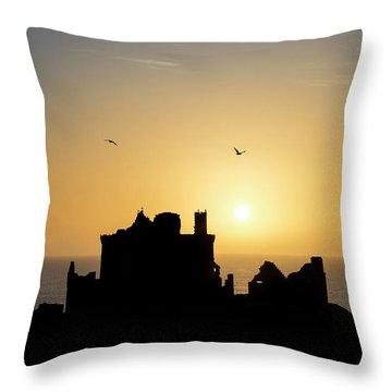 Dunnottar Castle Sunrise Throw Pillow