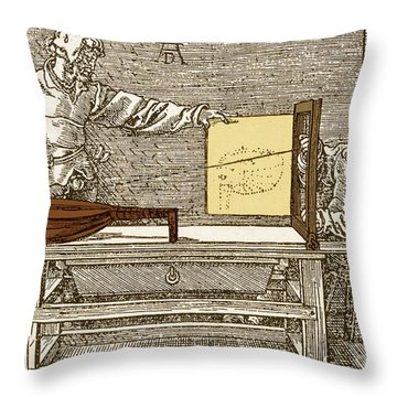 Durers Perspective Drawing Of A Lute Throw Pillow