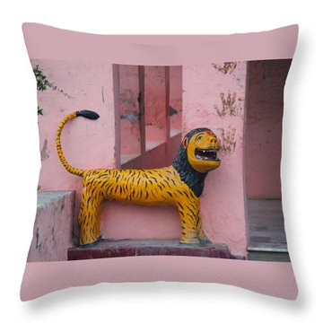 Durga's Lion, Vrindavan Throw Pillow by Jennifer Mazzucco