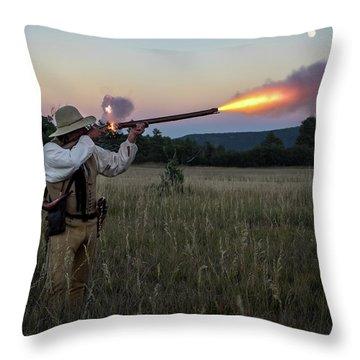 Early 1800's Flintlock Muzzleloader Blast Throw Pillow by Nadja Rider