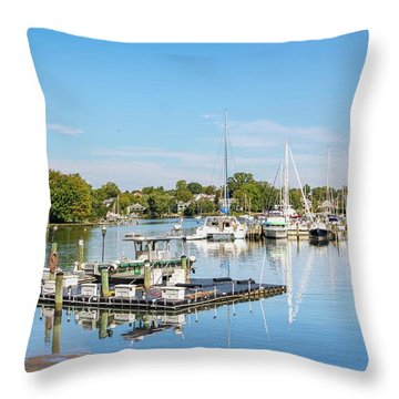 Early Fall Day On Spa Creek Throw Pillow