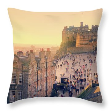 Edinburgh Castle Throw Pillow by Ray Devlin