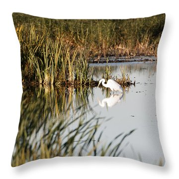 Egret - Horicon Marsh - Wisconsin Throw Pillow