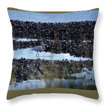 Egret In The Marsh Throw Pillow by Margie Avellino