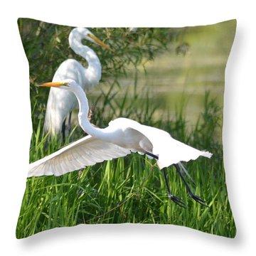 Egret Takes Flight Throw Pillow