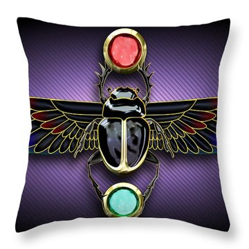 Egyptian Scarab Beetle Throw Pillow