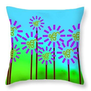 Ekonkar Flowers Throw Pillow