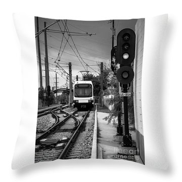 Electric Commuter Train In Bw Throw Pillow