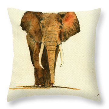 Elephant Watercolor Throw Pillow by Juan  Bosco