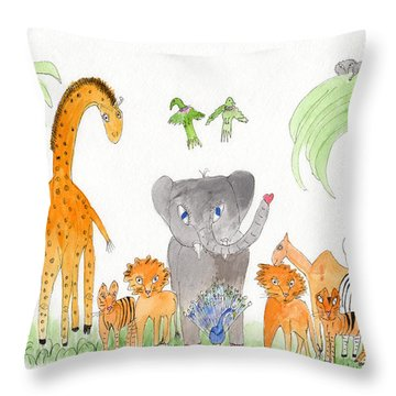 Elephoot And Friends 2 Throw Pillow