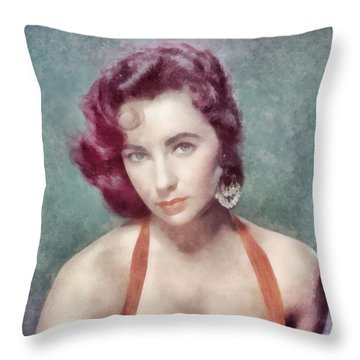 Elizabeth Taylor By John Springfield Throw Pillow