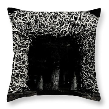 Elk Antlers Gate Jackson Hole Wy Throw Pillow by Christine Till