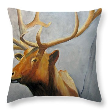 Elk Trophy Throw Pillow