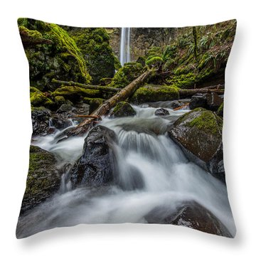 Columbia Gorge Elowah Falls Oregon Throw Pillow