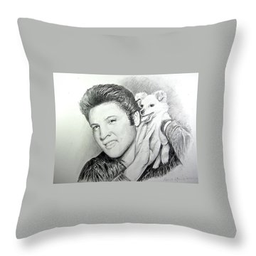 Elvis And Sweet-pea Throw Pillow by Patricia Schneider Mitchell