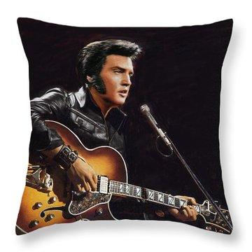 Elvis Presley Throw Pillow by Dominique Amendola