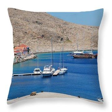 Emborio Harbour On Halki Throw Pillow
