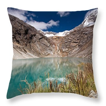 Emerald Green Mountain Lake At 4500m Throw Pillow by Aivar Mikko