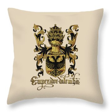 Emperor Of Germany Coat Of Arms - Livro Do Armeiro-mor Throw Pillow by Serge Averbukh