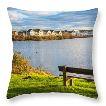 Throw Pillow featuring the photograph Empty Bench by Gary Gillette
