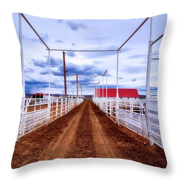 Empty Corrals Throw Pillow by L O C