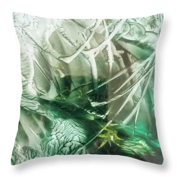 Encaustic Abstract Green Foliage Throw Pillow