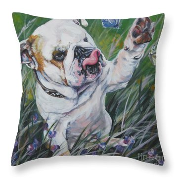 English Bulldog Throw Pillow by Lee Ann Shepard