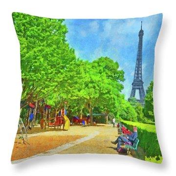 Enjoying The Champ De Mars Near The Eiffel Tower Throw Pillow