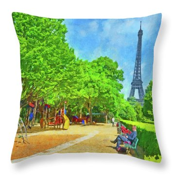 Enjoying The Champ De Mars Near The Eiffel Tower Throw Pillow