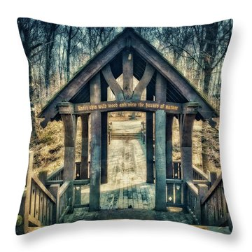 Throw Pillow featuring the photograph Entrance To Seven Bridges - Grant Park - South Milwaukee #3 by Jennifer Rondinelli Reilly - Fine Art Photography