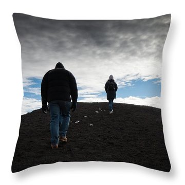 Etna, Red Mount Crater Throw Pillow