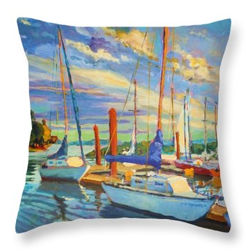 Evening At The Marina Throw Pillow by Margaret  Plumb