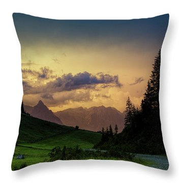 Evening In The Alps Throw Pillow