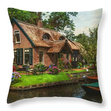 Fairytale House. Giethoorn. Venice Of The North Throw Pillow