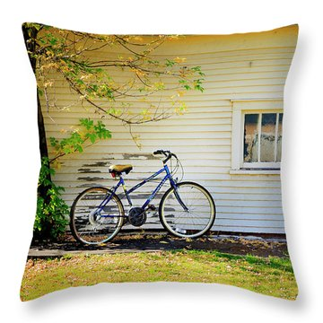 Throw Pillow featuring the photograph Fall Bicycle Of Laramie by Craig J Satterlee