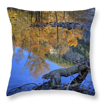 Fall Color At Big Bluff Throw Pillow by Michael Dougherty