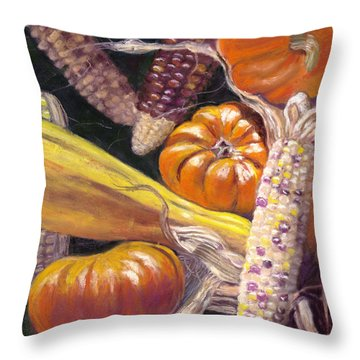 Fall Harvest Throw Pillow by Julie Maas