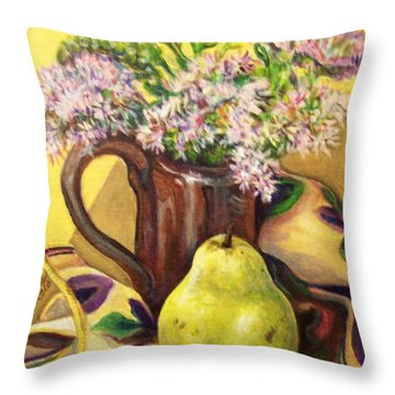 Throw Pillow featuring the painting Fall Still Life by Laura Aceto