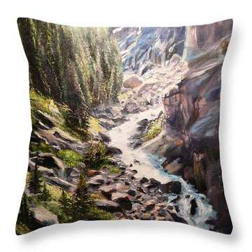 Falls Below Rimrock Lake Throw Pillow