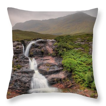Falls Of Glencoe Throw Pillow by Ray Devlin