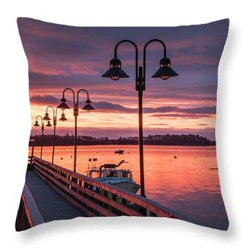Falmouth Town Landing Sunrise Throw Pillow