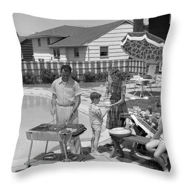 Family Cooking Out, C.1950s Throw Pillow