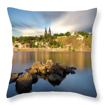 Famous Vysehrad Church During Sunny Day. Amazing Cloudy Sky In Motion. Vltava River, Prague, Czech Republic Throw Pillow