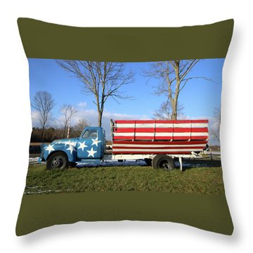 Farm Truck Wading River New York Throw Pillow