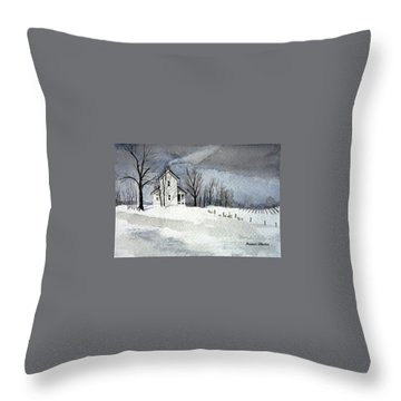 Farmhouse In Winter Throw Pillow