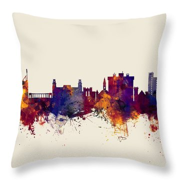 Fayetteville Arkansas Skyline Throw Pillow by Michael Tompsett
