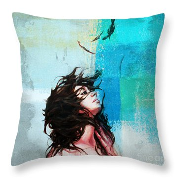 Feathers From Hair  Throw Pillow by Gull G